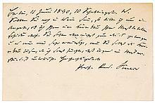 Virchow, Rudolf. Eigenhändige Postkarte an einen Dr. Tron (?) in Wien. Berl