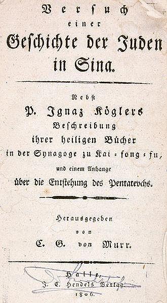 Asien - China - - Murr, C. G. v. Versuch einer Geschichte der Juden in Sina