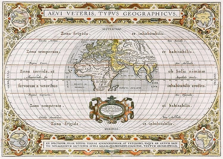 Karten - Weltkarte - - Ortelius, Abraham. Aevi veteris, Typus geographicus.