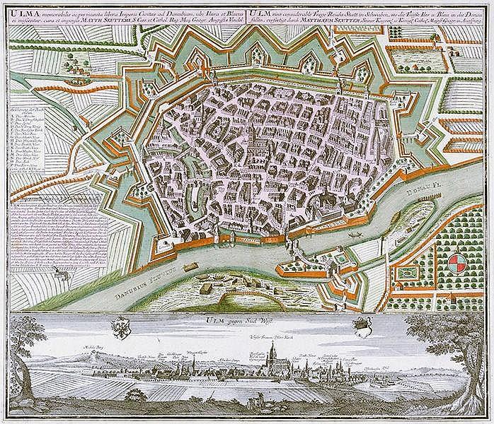 Karten - Ulm - - Seutter, Matthäus. Ulma memorabilis ac permunita libera Im
