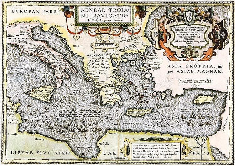 Karten - Mittelmeer - - Ortelius, Abraham. Aeneae Troiani Navigatio. Ad Vir