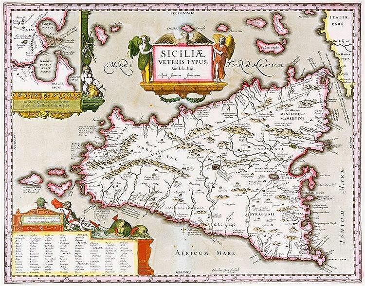 Karten - Sizilien - - Ortelius, Abraham. Siciliae veteris typus. Altkolorie