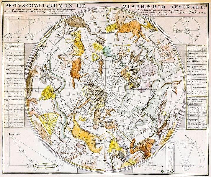 Karten - Sternkarten - - Doppelmayr, Johann Gabriel. Motus Cometarum in Hem