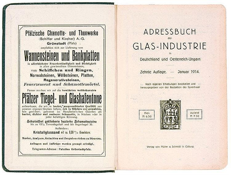 Technik - Glas - - Adressbuch der Glas-Industrie in Deutschland und Österre