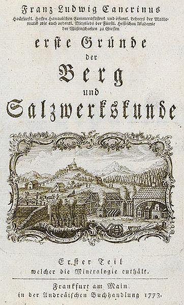 Technik - Bergbau - - Cancrin, Franz Ludwig von. Erste Gründe der Berg und