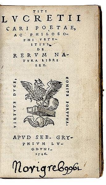 Lucretius Carus, Titus. De rerum natura libri sex. Mit Holzschnitt-Druckerm