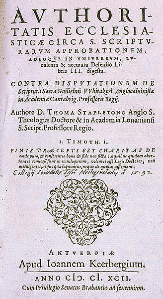 Stapleton, Thomas. Authoritatis ecclesiasticae circa S. Scriptuarum approba