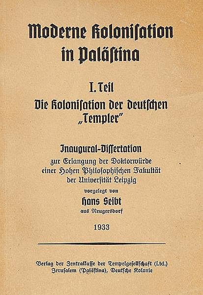 Judaica - - Seibt, Hans. Moderne Kolonisation in Palästina. Inaugural-Disse