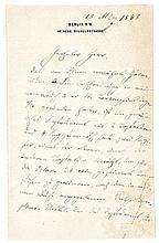 Helmholtz, Hermann. Eigenhändiger, dreiseitiger Brief an einen ungenannten