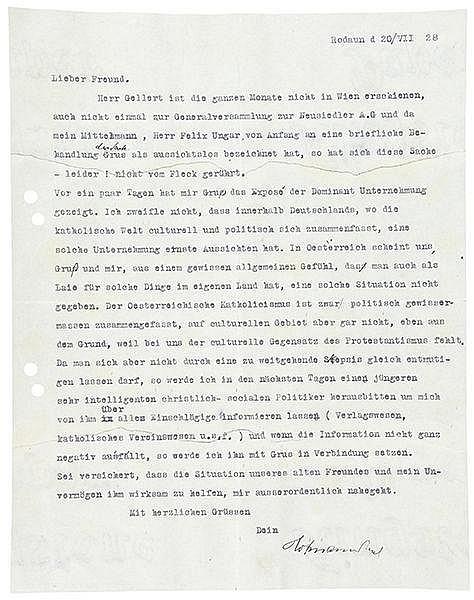 Hofmannsthal, Hugo von. Maschinenschriftlicher Brief mit Unterschrift. Roda