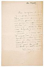 Khnopff, Fernand. Zweiseitiger eigenhändiger Brief an einen