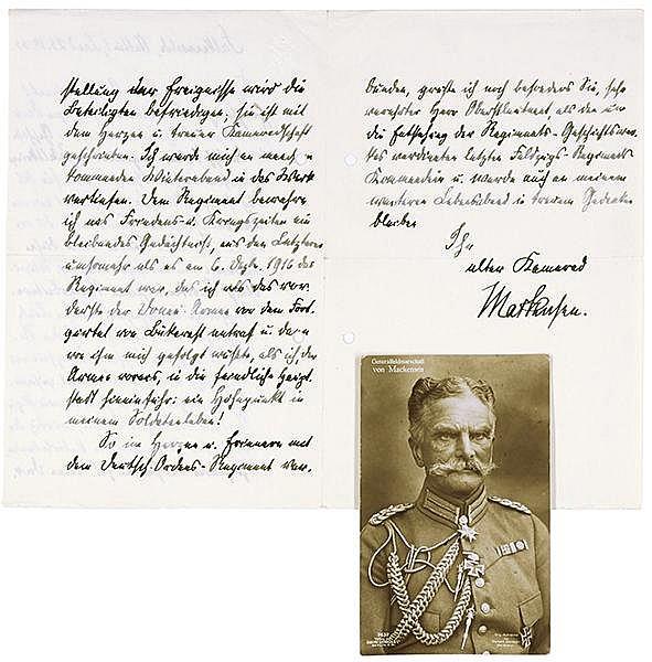 Mackensen, August von. Eigenhändiger, dreiseitiger Brief an einen Oberstleu