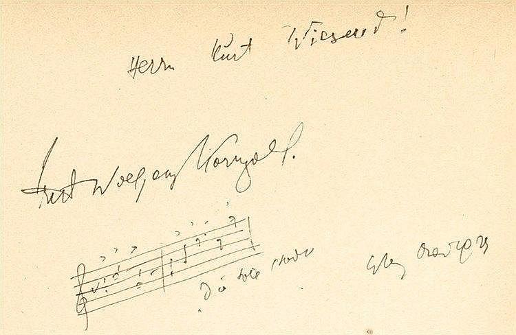 Korngold, Erich Wolfgang. Zwei eigenhändige Takte aus