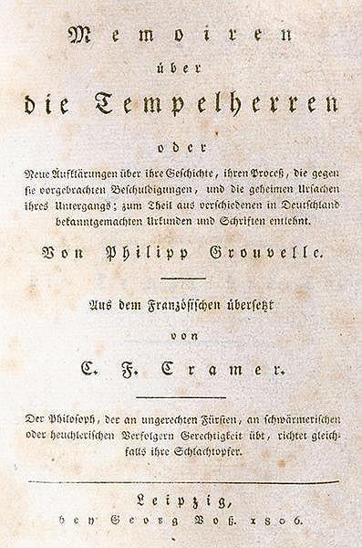 Occulta - Masonica - - Grouvelle, Philippe Antoine. Memoiren über die Tempe