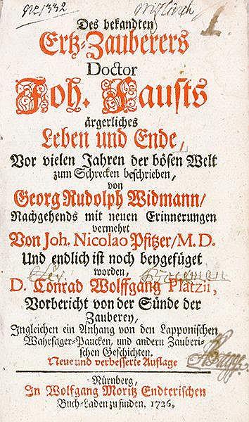 Occulta - Alchemie - - Widmann, Georg Rudolph. Des bekandten Ertz-Zauberers