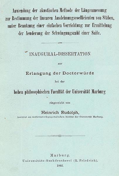 Physik - - Rudolph, Heinrich. 52 Veröffentlichungen (Dissertation, Patentsc