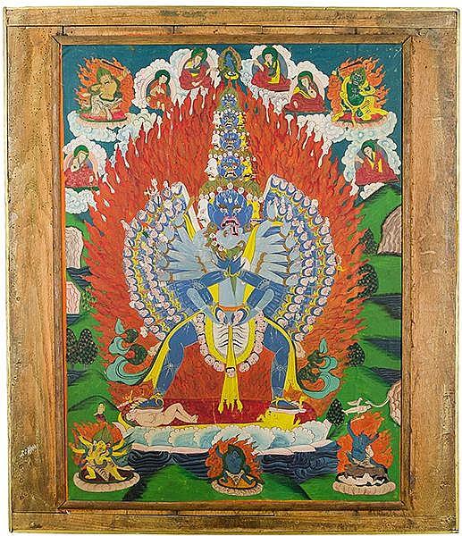 Asien - Tibet - - Sammlung von 3 Thangkas. Gouache auf Leinen. Tibet, wohl