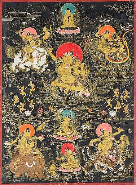Asien - Tibet - - Sammlung von 4 Thangkas. Gouache auf Stoff. Tibet, 19./20