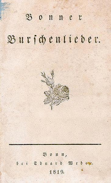 Liederbücher - - Hoffmann von Fallersleben, August Heinrich. Bonner Bursche