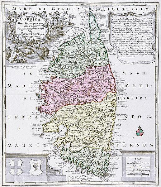 Karten - Korsika - - Seutter, Matthäus. Insula Corsica, olim regni titulo i