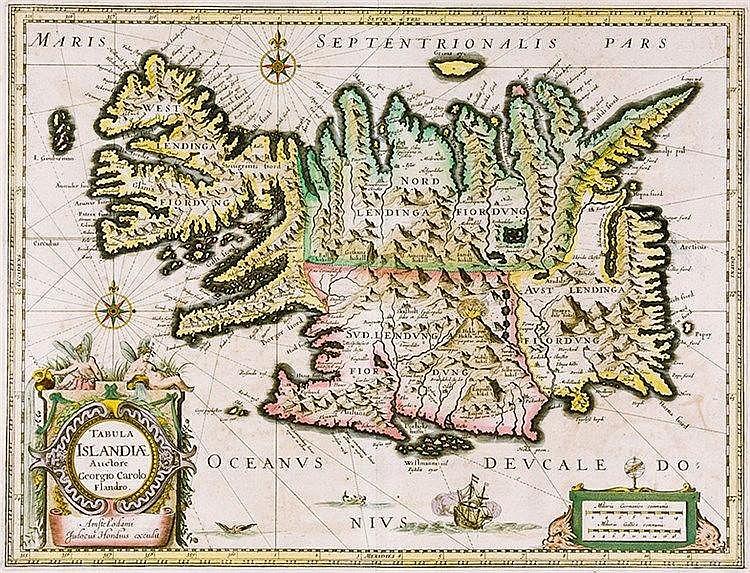 Karten - Island - - Carolus, Joris. Tabula Islandiae. Altkolorierte Kupferk