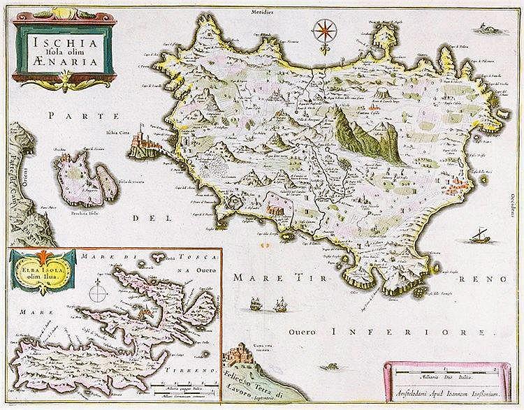 Karten - Italien - - Janssonius, Joan. Ischia Isola olim Aenaria. Alt teilk
