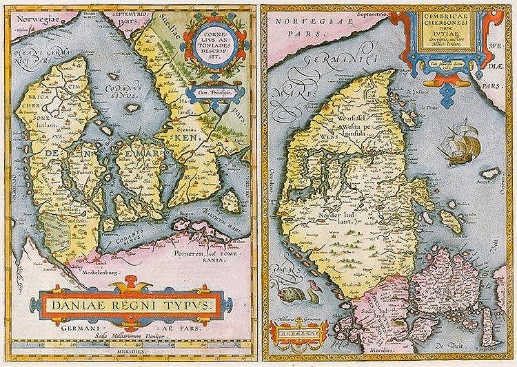Karten - Dänemark - - Anthoniszoon, Cornelis und Marcus Jordanus. Daniae re