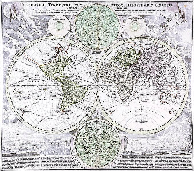 Karten - - Homann, Johann Baptist. Sammlung von 4 Erdteilkarten und 1 Weltk