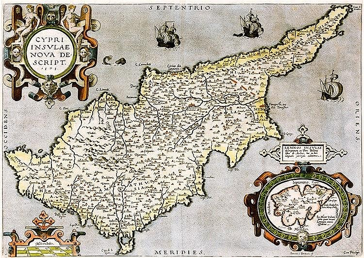 Karten - Zypern - - Doetecum, J. van. Cypri insulae nova descript. 1573. Al