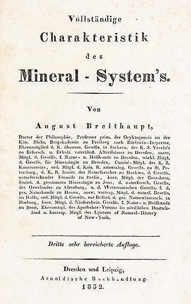 Mineralogie - - Breithaupt, August. Vollständige Charakteristik des Mineral