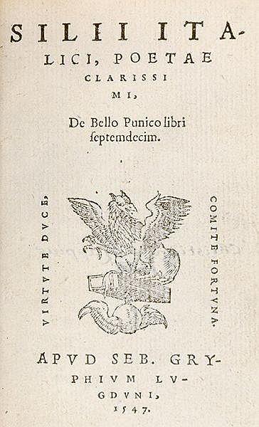 Silius Italicus. De bello punico libri septemdecim. Mit Holzschnitt-Drucker
