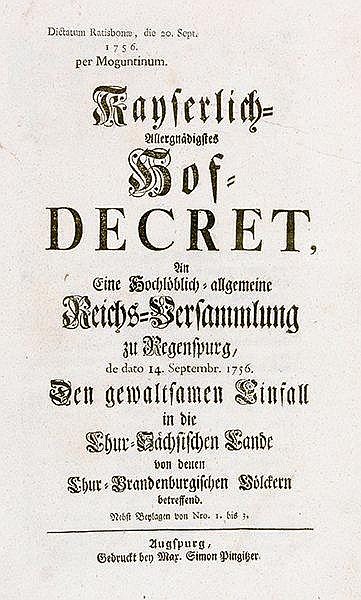 Siebenjähriger Krieg - - Sammelband mit 11 Veröffentlichungen. 1756-1757. 3