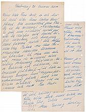 Göring, Emmy. Vierseitiger handschriftlicher Brief an Luise Katharina Jodl.