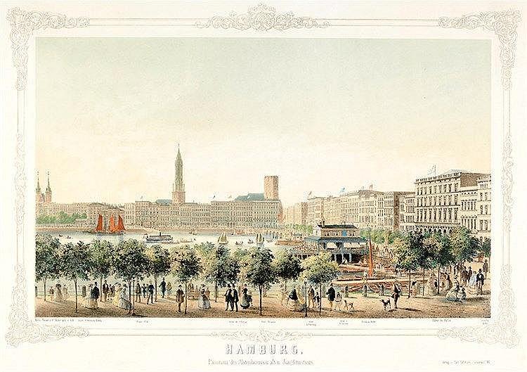 Ansichten - Hamburg - - Heuer, Wilhelm. Hamburg. Panorama des Alsterdamm's
