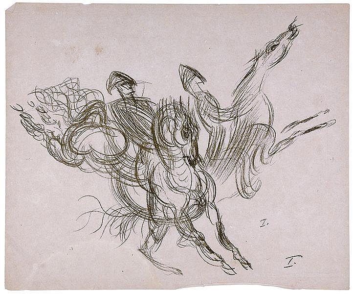 Pferde - - Sammlung von 7 (davon 3 Dubletten) Lithographien auf Papier. 20.