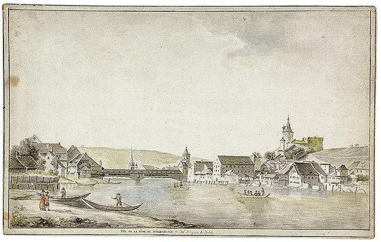 Ansichten - Schaffhausen - - Vue de la Ville de Schafhausen du coté de la p