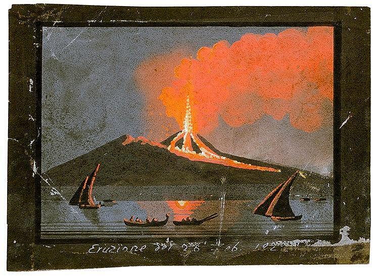 Ansichten - Italien - Vesuv - - Sammlung von 6 (darunter 1 kolorierten) Sti