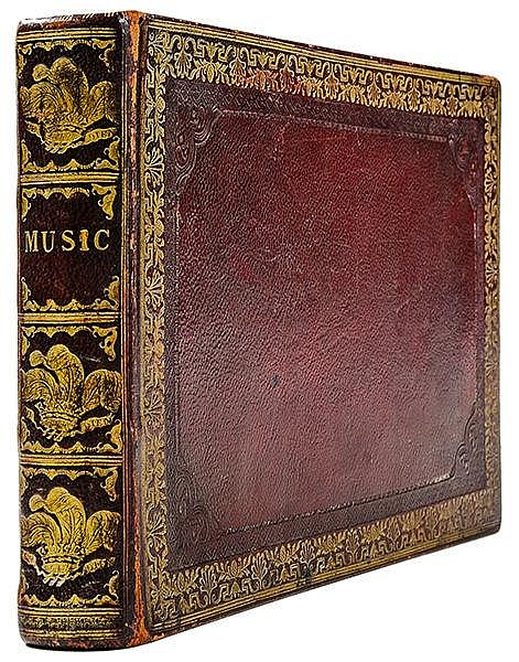 Einbände - - Music. Reizvolles Ganzleder-Album mit zahlreichen handschriftl