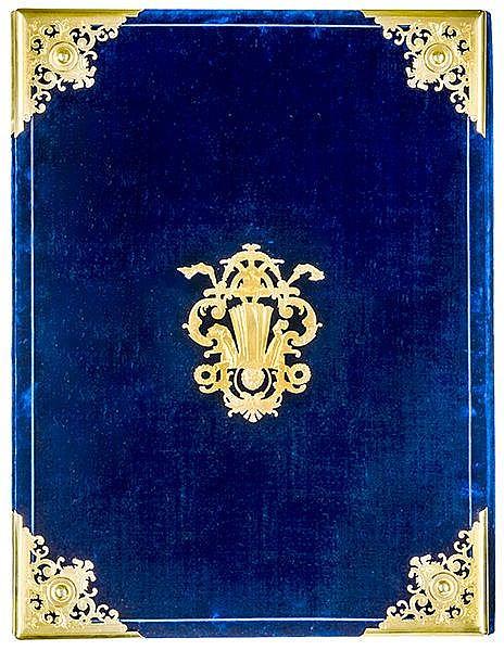 Einbände - - Prunkmappe aus dunkelblauem Samt mit ziselierten vergoldeten M
