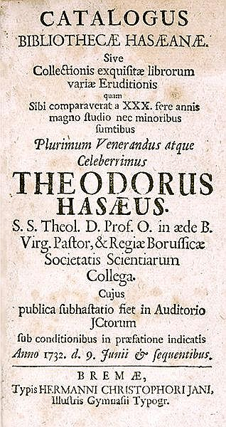 Bibliographie - - Catalogus bibliothecae Hasaeanae. Sive collectionis exqui