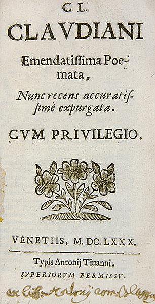 Claudianus, Claudius. Cl. Claudiani emendatissima poemata, nunc recens accu