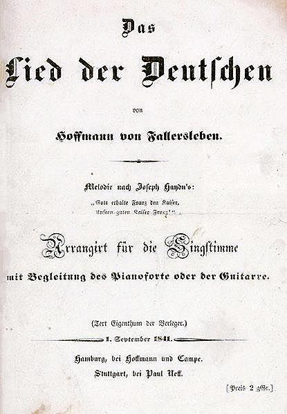 Hoffmann von Fallersleben, August Heinrich. Das Lied der Deutschen. Melodie