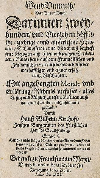 Kirchhof, Hans Wilhelm. WendUnmuth, ... Darinnen ... höffliche, züchtige, u