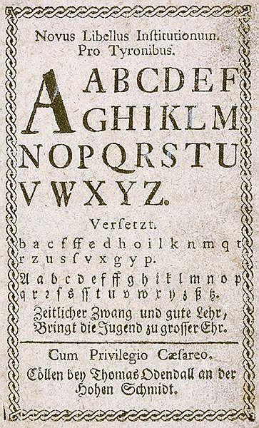 Novus libellus institutionum pro tyronibus. A A B C D ... Zeitlicher Zwang