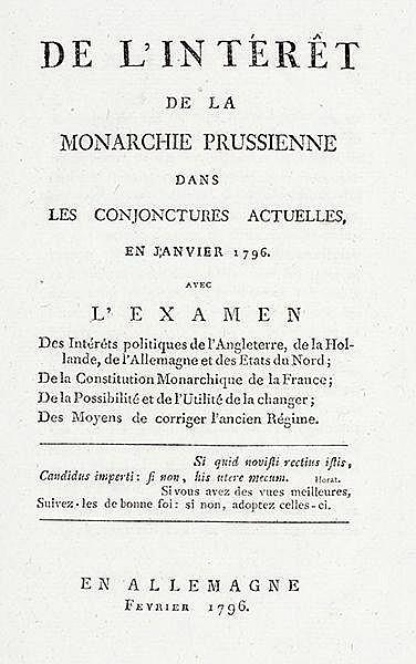 Preussen - - Moustier, Eléonore de. De l'intérêt de la monarchie prussienne