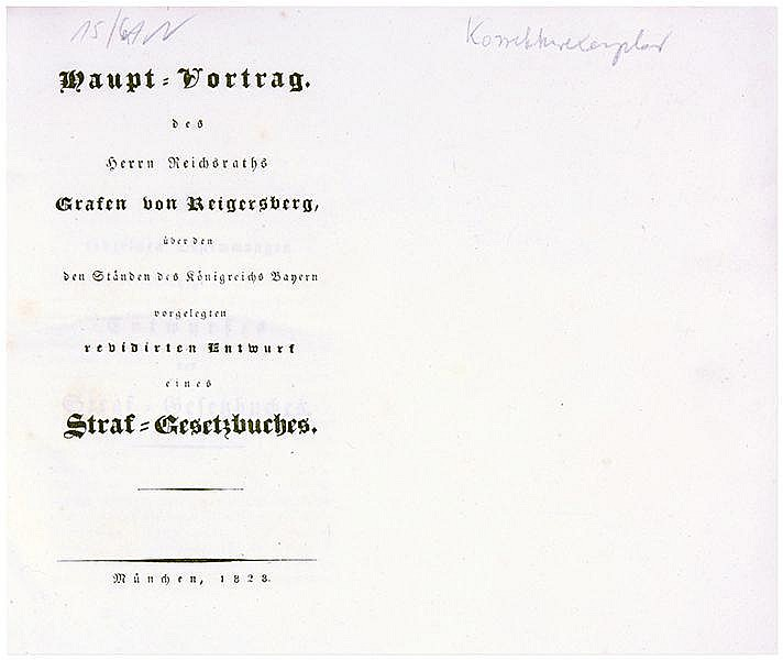 Rechtswissenschaft - - Reigersberg, Heinrich Aloys v.. Haupt-Vortrag des He
