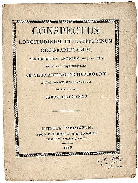 Amerika - Südamerika - - Humboldt, Alexander von. Conspectus longitudinum e