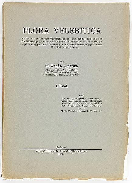 Europa - Kroatien - - Degen, Árpád von. Flora Velebitica. Aufzählung der au