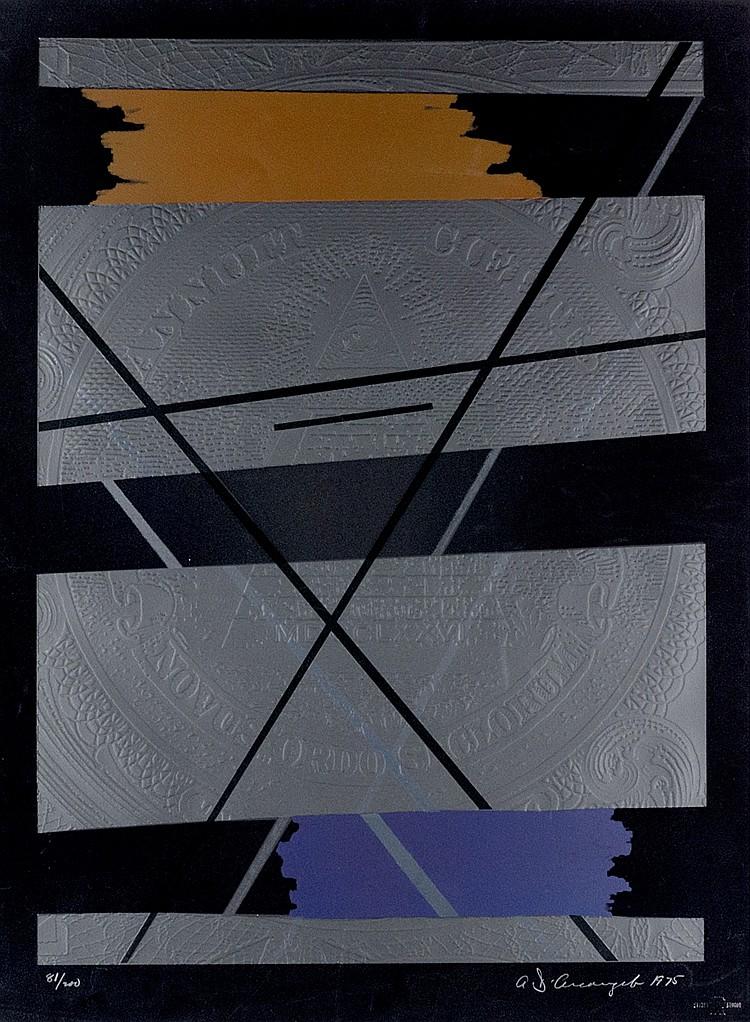 Arcangelo, Allan de. Beginning. Lithographie mit Sieb- und Prägedruck auf V