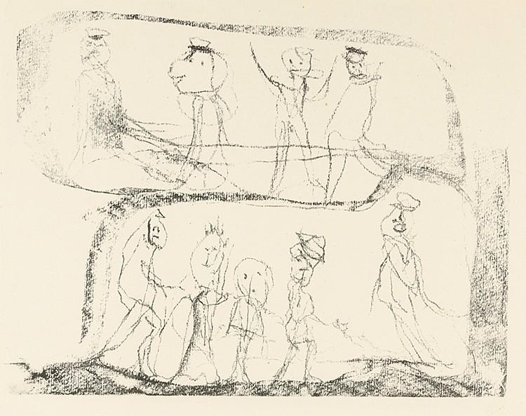 Altenbourg, Gerhard. Unruhige Jugend. Lithographie auf Velin. Rechts unten
